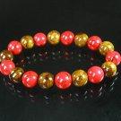 Women 7inch Polished Tibet & Nepal Stone Red Veins Brown Beads Bracelet WZ2076-10M