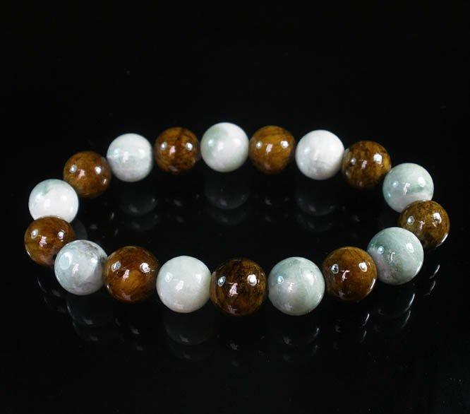 Women 7inch Polished Tibet & Nepal Stone Light Color Brown Beads Bracelet WZ2080-10M