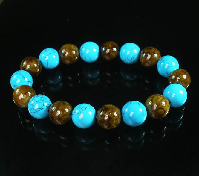 Women 7inch Polished Tibet & Nepal Stone Baby Blue Veins Brown Beads Bracelet WZ2088-10M
