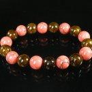Women 7inch Polished Tibet & Nepal Stone Pink Veins Brown Beads Bracelet WZ2089-10M