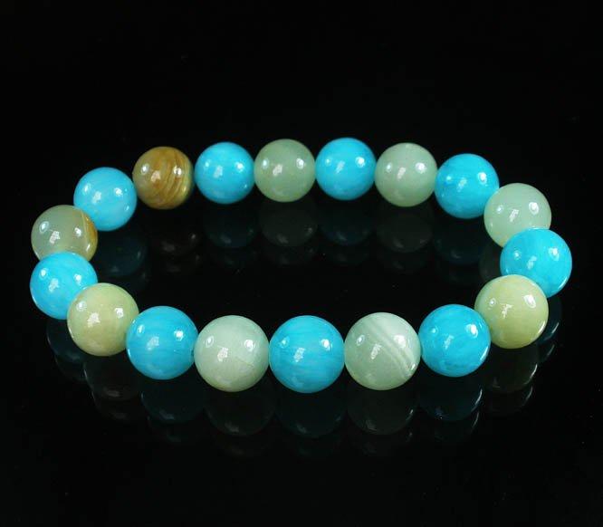 Women 7inch Polished Tibet & Nepal Stone Light Green Baby Blue Beads Bracelet WZ2091-10M