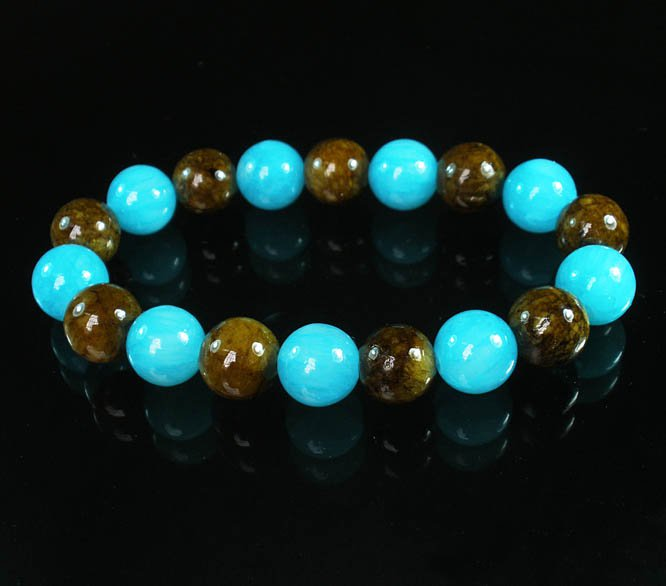 Women 7inch Polished Tibet & Nepal Stone Brown Baby Blue Beads Bracelet WZ2092-10M