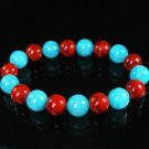 Women 7inch Polished Tibet & Nepal Stone Red Veins Baby Blue Beads Bracelet WZ2093-10M