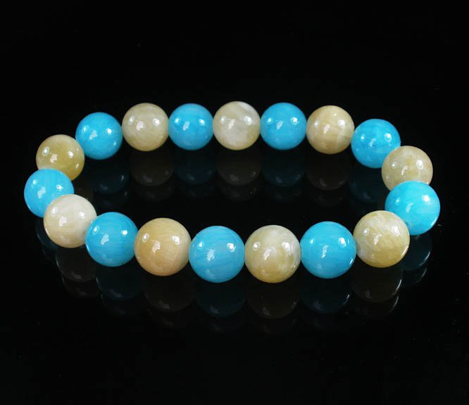 Women 7inch Polished Tibet & Nepal Stone Light Yellow Baby Blue Beads Bracelet WZ2094-10M
