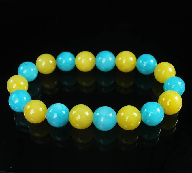 Women 7inch Polished Tibet & Nepal Stone Yellow Baby Blue Beads Bracelet WZ2096-10M