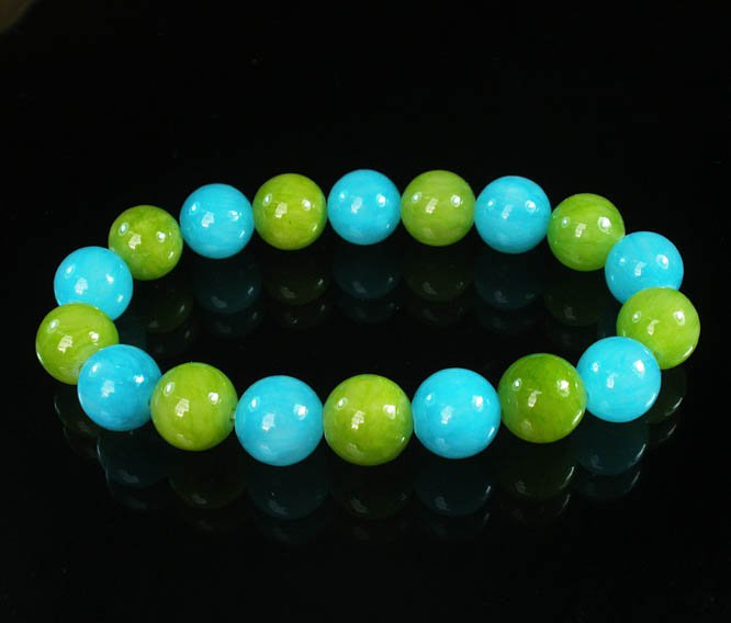 Women 7inch Polished Tibet & Nepal Stone Olive Green Baby Blue Beads Bracelet WZ2097-10M