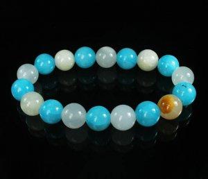 Women 7inch Polished Tibet & Nepal Stone Light White Baby Blue Beads Bracelet WZ2099-10M