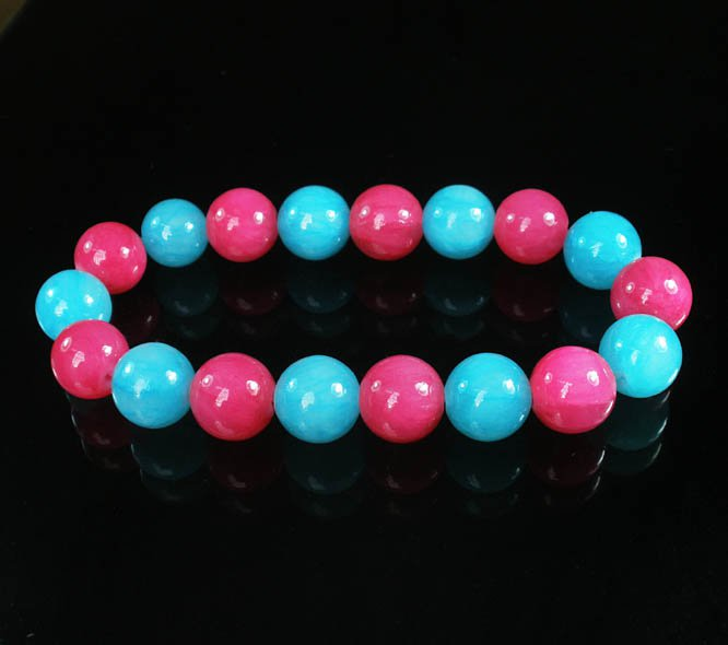 Women 7inch Polished Tibet & Nepal Stone Hot Pink Baby Blue Beads Bracelet WZ2100-10M