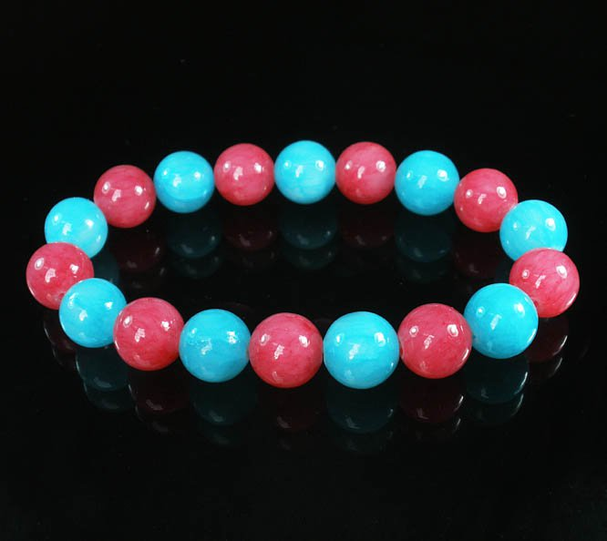 Women 7inch Polished Tibet & Nepal Stone Pink Baby Blue Beads Bracelet WZ2103-10M