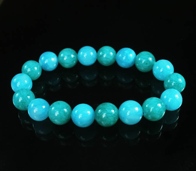 Women 7inch Polished Tibet & Nepal Stone Green Baby Blue Beads Bracelet WZ2104-10M