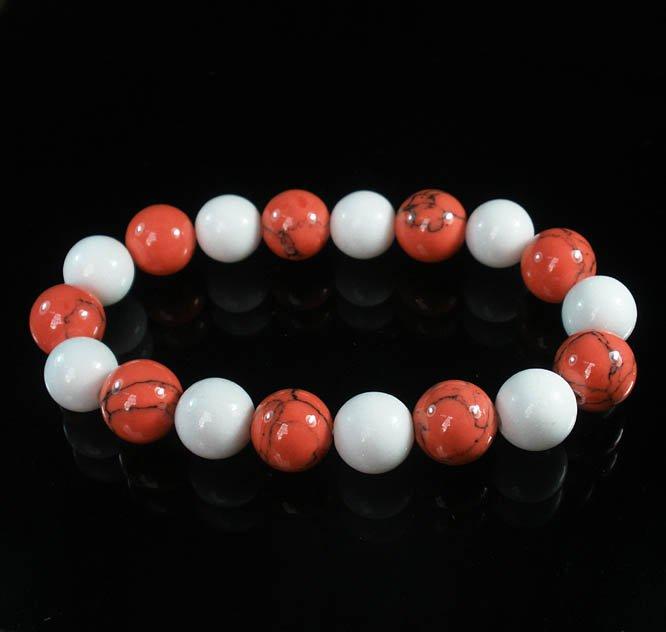 Women 7inch Polished Tibet & Nepal Stone White Pink Veins Beads Bracelet WZ2106-10M