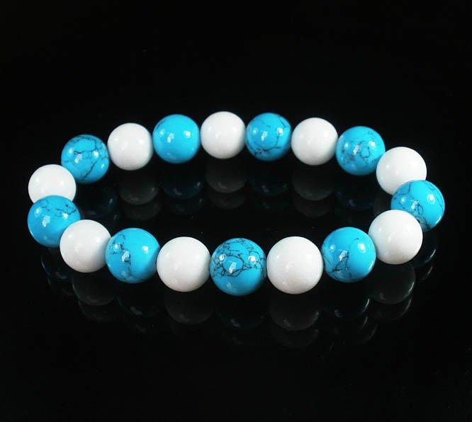 Women 7inch Polished Tibet & Nepal Stone White Baby Blue Veins Beads Bracelet WZ2111-10M