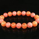 Women 7inch Polished Tibet & Nepal Stone Pink Veins Red-Orange Beads Bracelet WZ2114-10M