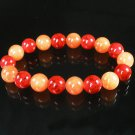 Women 7inch Polished Tibet & Nepal Stone Red Veins Red-Orange Beads Bracelet WZ2117-10M