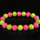 Women 7inch Polished Tibet & Nepal Stone Hot Pink Olive Green Beads Bracelet WZ2122-10M