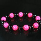 Women 7inch Polished Tibet & Nepal Stone Hot Pink Black Beads Bracelet WZ2123-10M