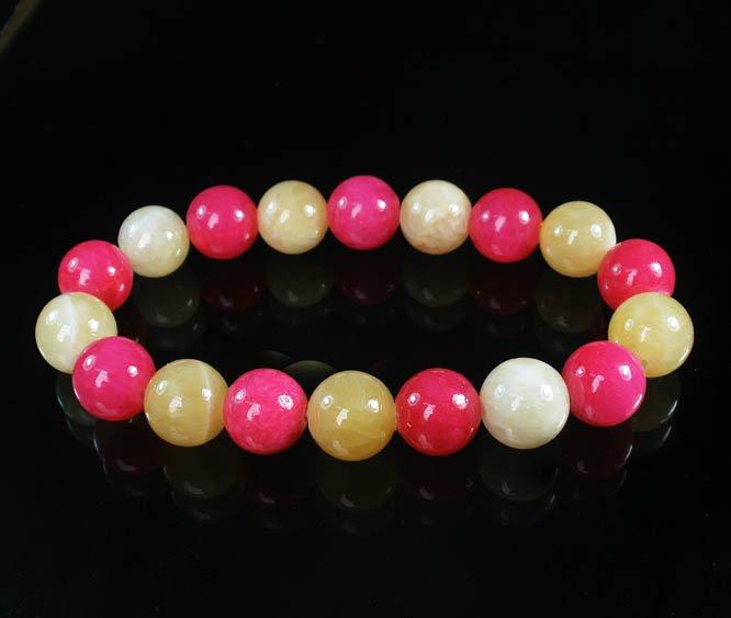 Women 7inch Polished Tibet & Nepal Stone Hot Pink Light Yellow Beads Bracelet WZ2124-10M