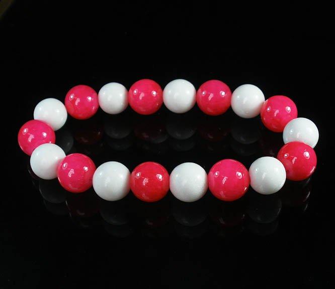 Women 7inch Polished Tibet & Nepal Stone Hot Pink White Beads Bracelet WZ2127-10M