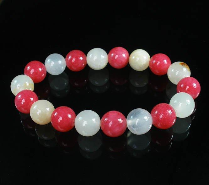 Women 7inch Polished Tibet & Nepal Stone Pink Light White Beads Bracelet WZ2134-10M