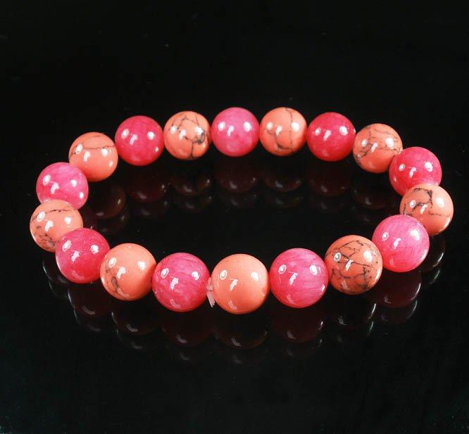 Women 7inch Polished Tibet & Nepal Stone Pink Pink Veins Beads Bracelet WZ2139-10M