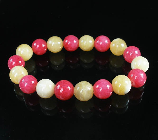 Women 7inch Polished Tibet & Nepal Stone Pink Light Yellow Beads Bracelet WZ2140-10M