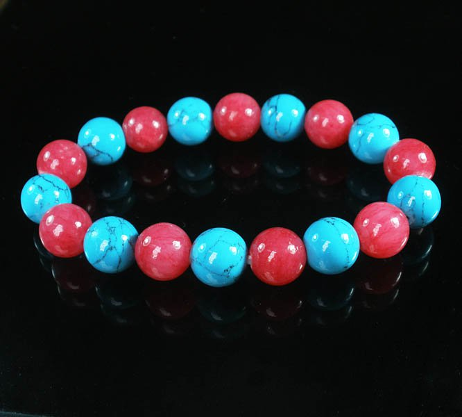 Women 7inch Polished Tibet & Nepal Stone Pink Baby Blue Veins Beads Bracelet WZ2141-10M
