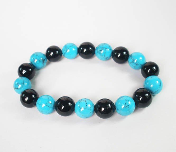 Women 7inch Polished Tibet & Nepal Stone Black Baby Blue Veins Beads Bracelet WZ2142-10M