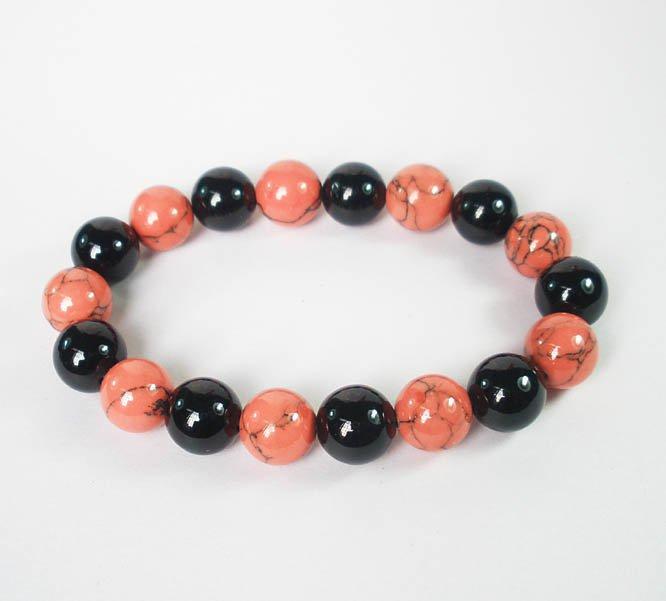 Women 7inch Polished Tibet & Nepal Stone Black Pink Veins Beads Bracelet WZ2143-10M