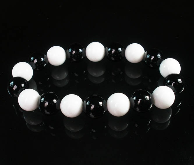 Women 7inch Polished Tibet & Nepal Stone White Black Beads Bracelet WZ2144-10M