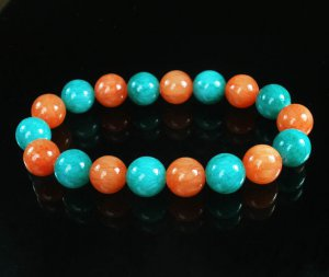 Women 7inch Polished Tibet & Nepal Stone Green Red-Orange Beads Bracelet WZ2160-10M
