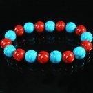 Women 7inch Polished Tibet & Nepal Stone Baby Blue Red Veins Beads Bracelet WZ2165-10M