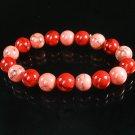 Women 7inch Polished Tibet & Nepal Stone Red Pink Veins Beads Bracelet WZ2166-10M