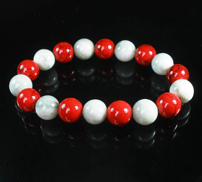 Women 7inch Polished Tibet & Nepal Stone Red Veins Light Color Beads Bracelet WZ2168-10M