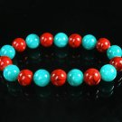 Women 7inch Polished Tibet & Nepal Stone Green Red Veins Beads Bracelet WZ2169-10M