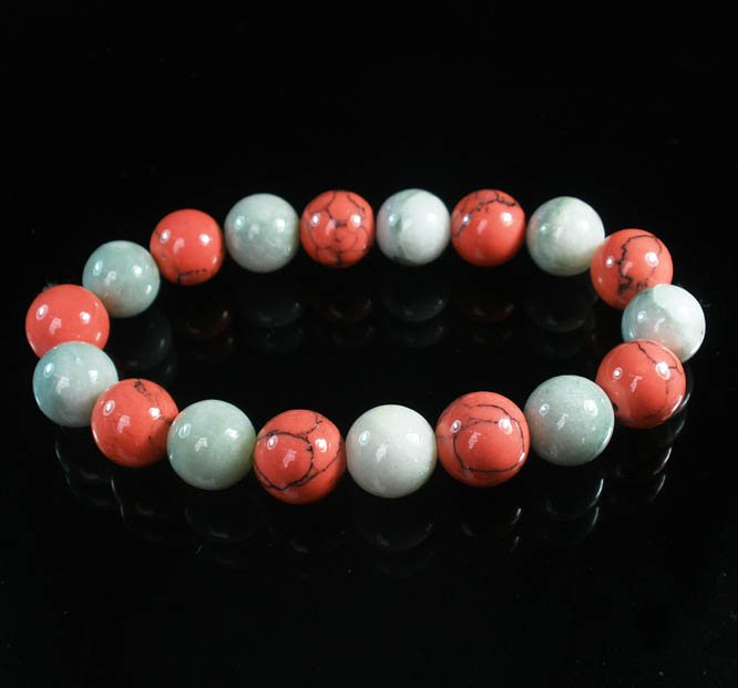 Women 7inch Polished Tibet & Nepal Stone Light Color Pink Veins Beads Bracelet WZ2174-10M