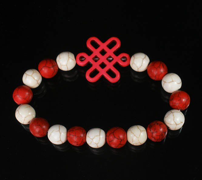 Charming Turquoise Colorful PINK Chinese Knot Bead WHITE RED Veins Beads Stretch Bracelet ZZ2682
