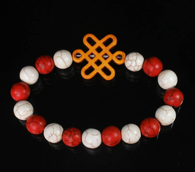 Charming Turquoise Colorful ORANGE Chinese Knot Bead WHITE RED Veins Beads Stretch Bracelet ZZ2685