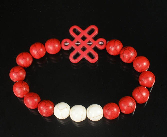 Charming Turquoise Colorful Chinese RED Knot Bead WHITE RED Veins Beads Stretch Bracelet ZZ2691