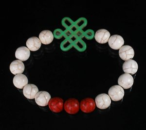Charming Turquoise Colorful Chinese GREEN Knot Bead WHITE RED Veins Beads Stretch Bracelet ZZ2704