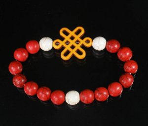 Charming Turquoise Colorful Chinese ORANGE Knot WHITE RED Veins Beads Stretch Bracelet ZZ2711