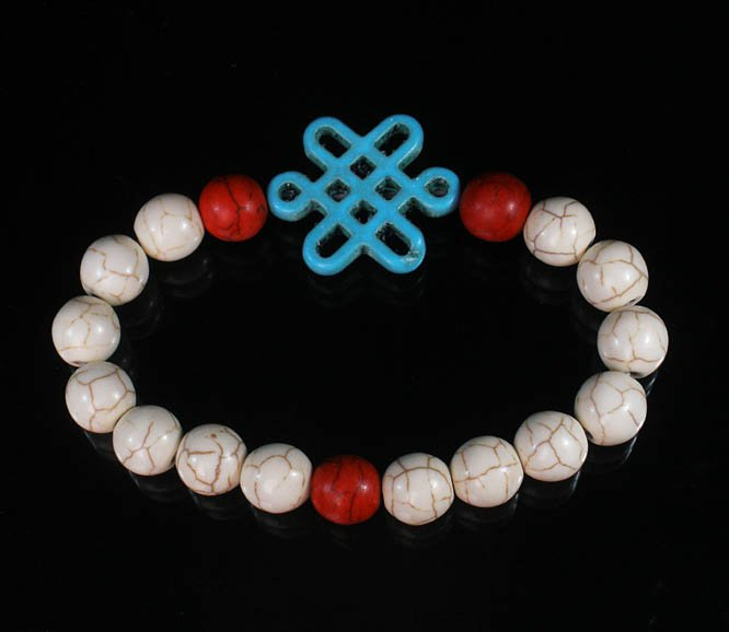 Charming Turquoise Colorful Chinese BABY BLUE Knot WHITE RED Veins Beads Stretch Bracelet ZZ2720
