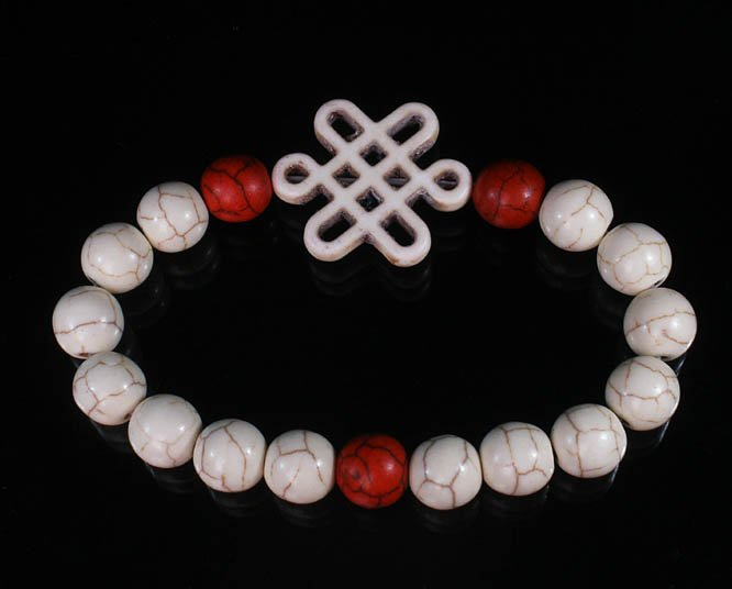 Charming Turquoise Colorful Chinese WHITE Knot Bead WHITE RED Veins Beads Stretch Bracelet ZZ2721
