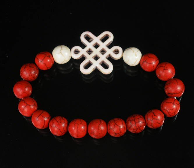 Charming Turquoise Colorful Chinese WHITE Knot Bead WHITE RED Veins Beads Stretch Bracelet ZZ2722