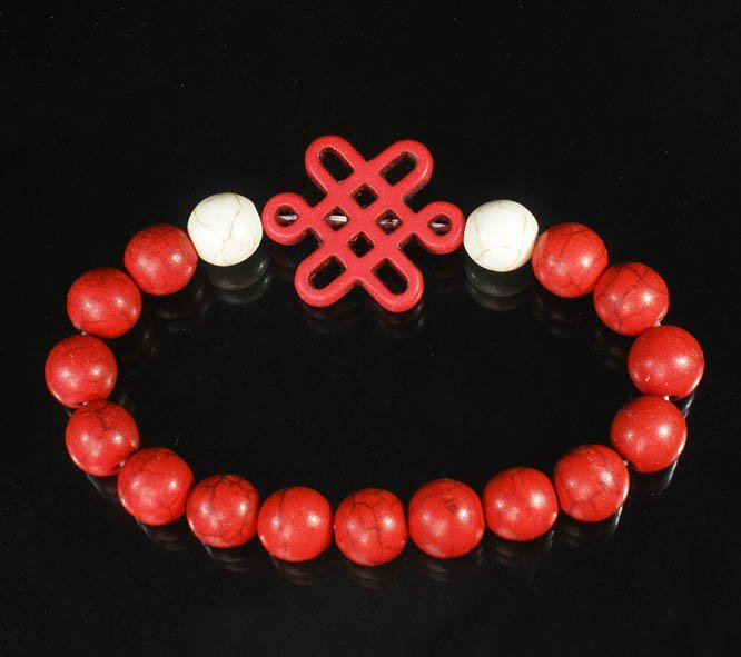 Charming Turquoise Colorful Chinese RED Knot Bead WHITE RED Veins Beads Stretch Bracelet ZZ2727