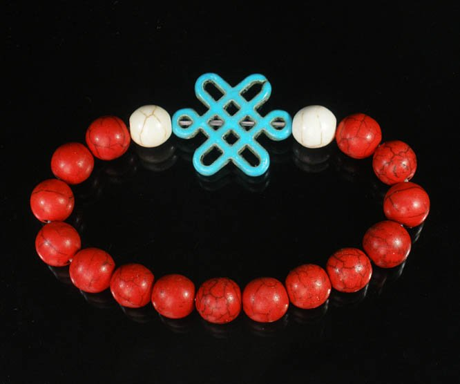 Charming Turquoise Colorful Chinese BABY BLUE Knot WHITE RED Veins Beads Stretch Bracelet ZZ2728