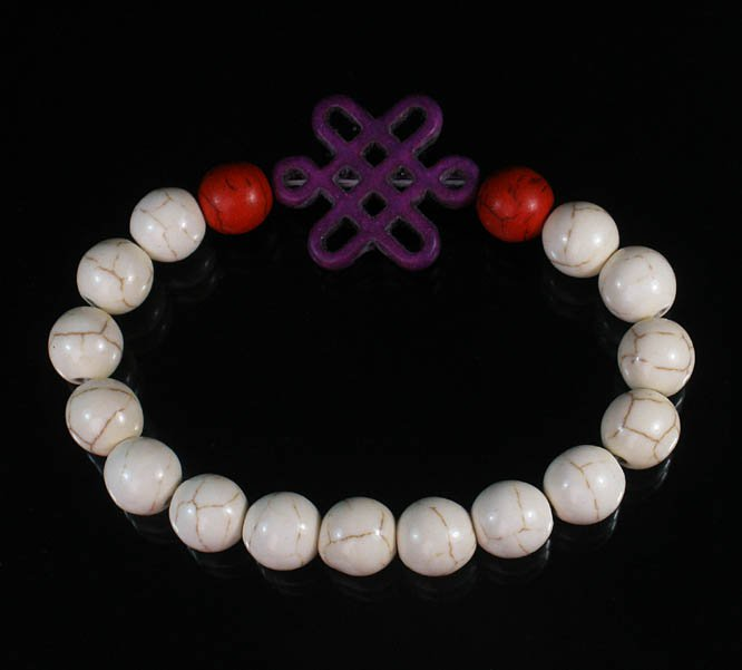 Charming Turquoise Colorful Chinese PURPLE Knot Bead WHITE RED Veins Beads Stretch Bracelet ZZ2735