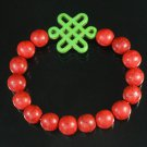 Charming Turquoise Colorful Chinese GREEN Knot Bead RED Veins Beads Stretch Bracelet ZZ2737