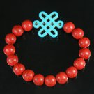 Charming Turquoise Colorful Chinese BABY BLUE Knot Bead RED Veins Beads Stretch Bracelet ZZ2740