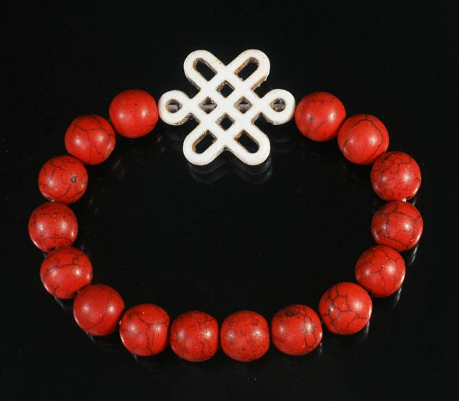 Charming Turquoise Colorful Chinese WHITE Knot Bead RED Veins Beads Stretch Bracelet ZZ2742
