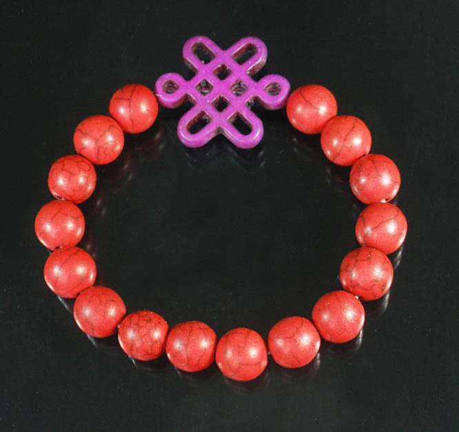 Charming Turquoise Colorful Chinese PURPLE Knot Bead RED Veins Beads Stretch Bracelet ZZ2744